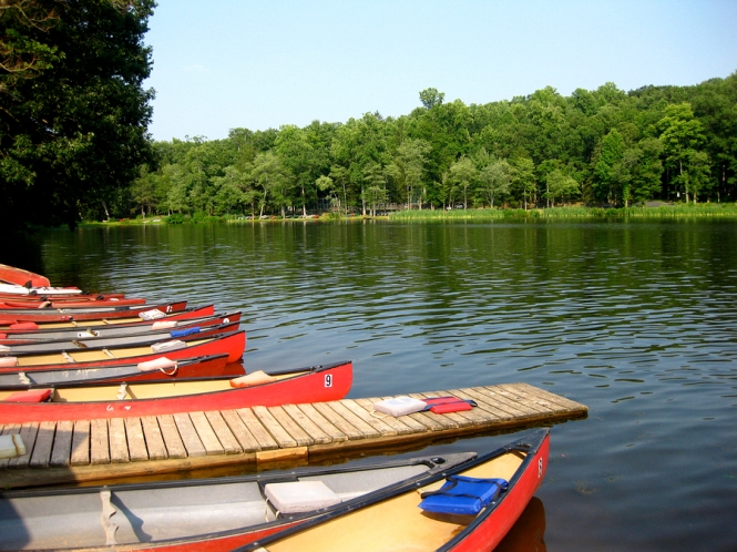 Colorful canoes docked at Mt. Gretna Lake